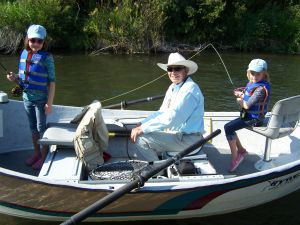 Paul on Salt River with Grandchildren - Click for an Enlargement